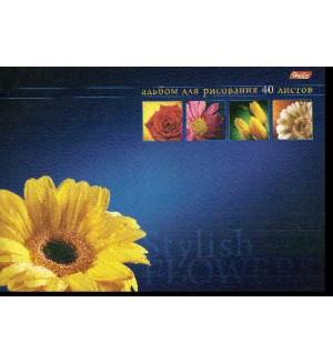 Альбом для рисования 40л А4ф отрывная склейка жесткая подложка выб лак-Магия цветов