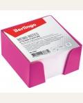 Блок для записи Berlingo, 9*9*5см, розовый пластиковый бокс, белый