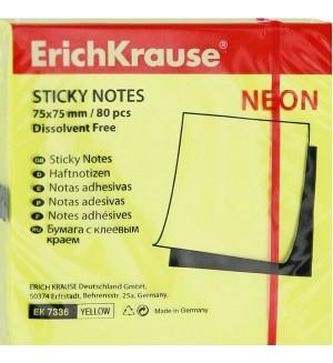 Самоклеящийся блок Erich Krause, 75*75мм, 80л, желтый неон