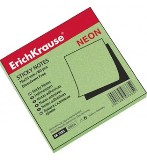 Бумага с клеевым краем 75х75 мм, неон зеленая