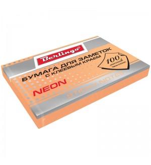 Самоклеящийся блок 76*51 мм, 100 л, оранжевый неон