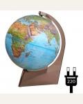 Глобус физико-политический рельефный Глобусный мир, 21см, с подсветкой на треугольной подставке