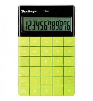 Калькулятор настольный 12 разрядов, двойное питание, 165*105*13 мм, зелёный