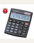 Калькулятор настольный Citizen SDC-812BN, 12 разр., двойное питание, 102*124*25мм, черный
