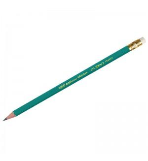 Пластиковый чернографитный карандаш НВ с ластиком.