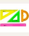 Набор чертежный средний ArtSpace, (треуг. 2шт., линейка 20см, транспортир), прозр. флуоресцентный