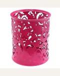 Стакан металлический ажурный, круглый, розовый