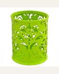 Стакан металлический ажурный, круглый, светло-зеленый