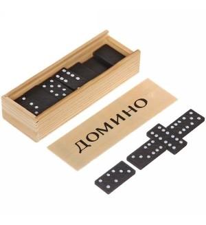 Домино, пластиковые фишки, в деревянной коробке, 14x5 см