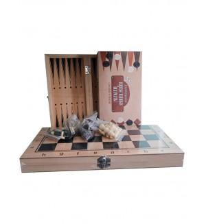 Игра 3 в 1 (нарды, шашки, шахматы), дерево лакированное,34х17