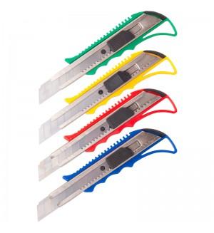 Нож канцелярский 18мм OfficeSpace, усиленный, с фиксатором, металл. направляющие, ассорти,европодвес