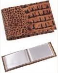 Визитница, фактура: крокодил, светло-коричневая, 18 листов, 36 карт