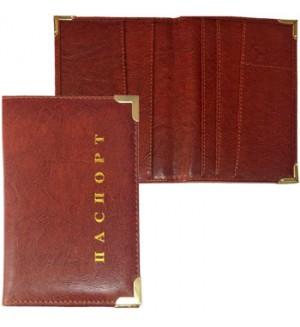 Обложка на паспорт кожзам, коричневый