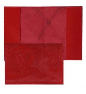 Обложка Паспорт, кожа натуральная красная