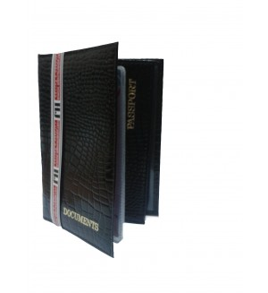 Обложка для автодокументов с паспортом, кожа крокодила, глянец