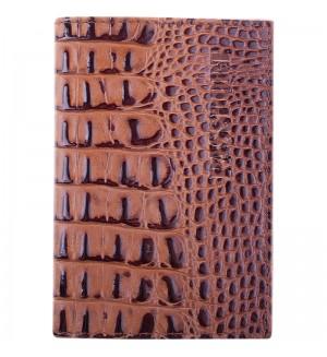 Обложка для паспорта OfficeSpace кожа тип 1.1, светло-коричневый, крокодил лак