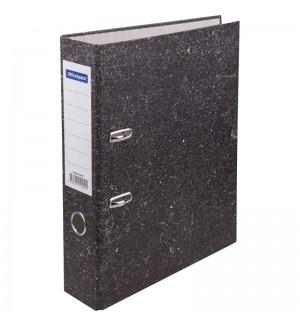 Папка-регистратор OfficeSpace, 70мм, мрамор, черная, эконом