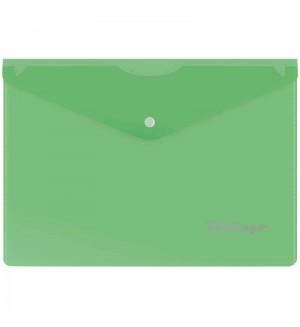 Папка-конверт на кнопке A5, 180мкм, зеленая