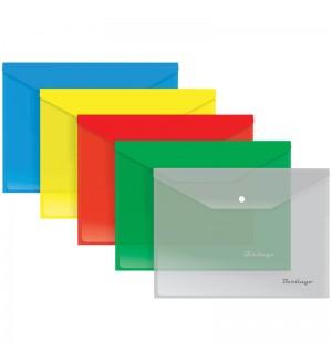 Папка-конверт на кнопке B5, 180мкм, ассорти