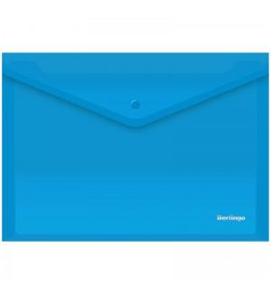 Папка-конверт на кнопке, А4, 180 мкм, синяя