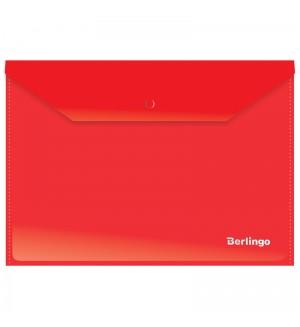 Папка-конверт на кнопке, А4, 180 мкм, красная