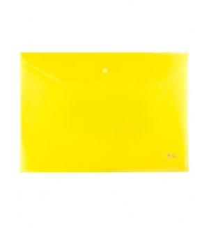 Папка-конверт на кнопке, А4, 180 мкм, желтая