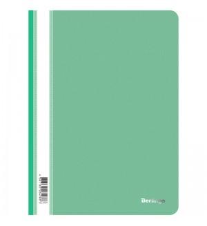 Папка-скоросшиватель пластик. Berlingo, А4, 180мкм, зеленая с прозр. верхом
