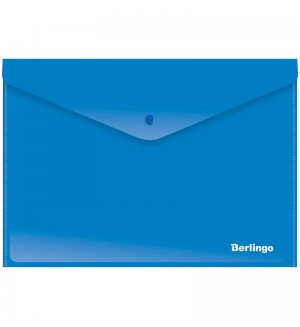 Папка-конверт на кнопке Berlingo, А4, 180мкм, непрозрачная, синяя