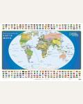 Политическая карта мира с флагами A0.