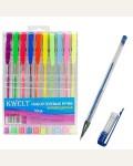 Набор гелевых ручек флуоресцентный, 10 цветов,  прозрачный корпус
