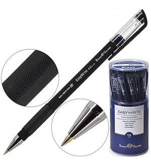 Ручка шариковая Bruno Visconti EasyWrite Black синяя 0,5мм резиновый держатель