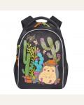 Рюкзак школьный Grizzly RG-762-1/4, цвет: черный, яркий рисунок