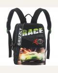 Ранец  школьный с мешком для обуви Grizzly RA-544-2, цвет: черный, зеленый