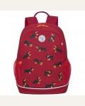 Рюкзак Grizzly, 28*38*18см, 2 отделения, 2 кармана, анатомическая спинка, красный