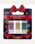 Клейкая лента декоративная 15мм*5м, Unibob, 3шт., разноцветная, шелковая