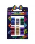 Клейкая лента декоративная 15мм*5м, Unibob, 6шт., разноцветная, голографическая