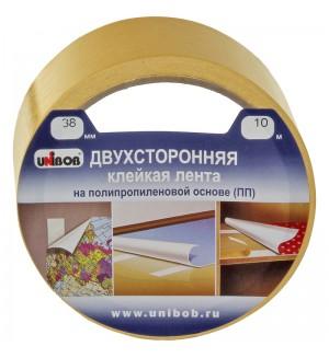 Клейкая лента двусторонняя Unibob, 38мм*10м, полипропилен, инд. упаковка