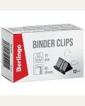 Зажимы для бумаг 19мм, Berlingo, 12шт., черные, картонная коробка