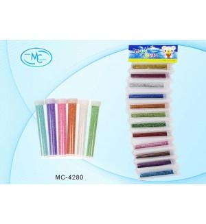 Блестки для творческих работ в пластиковых тубах, 12 цветов, 9 г