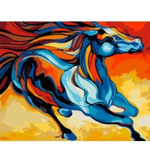 Раскраска по номерам Артвентура «Сказочная лошадь» (цветной холст)