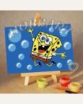 Раскраска по номерам Hobbart «Sponge Bob: пузыриии!!!» (холст-открытка, 10х15 см)