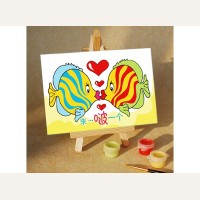 Раскраска по номерам «Поцелуй» (холст-открытка, 10х15 см)