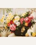 Раскраска по номерам Белоснежка «Букет в корзине » (холст, 40х50 см)