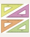 Треугольник 30°, 18см, прозрачный флуоресцентный, 4 цвета.