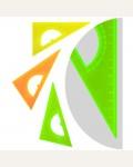 Треугольник 30°, 16см, прозрачный флуоресцентный, 4 цвета, с транспортиром
