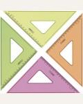 Треугольник 45°, 16см Стамм, прозрачный флуоресцентный, 4цв.