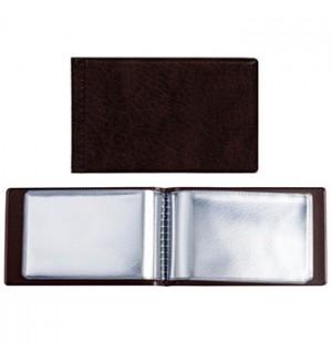 Визитница 28 карт коричневая 65*103 мм кожзам